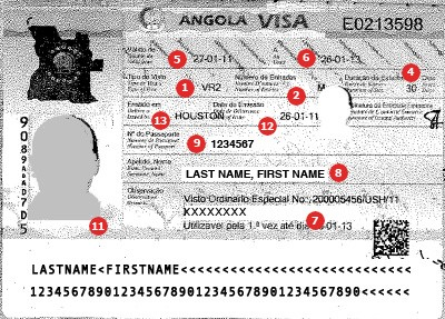 Angola Visa Sample
