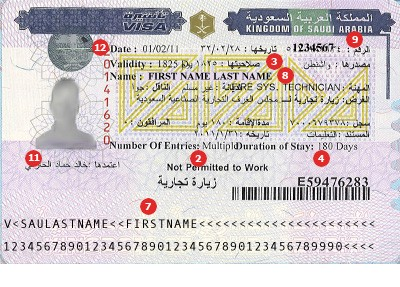 Saudi Arabia Visa Sample