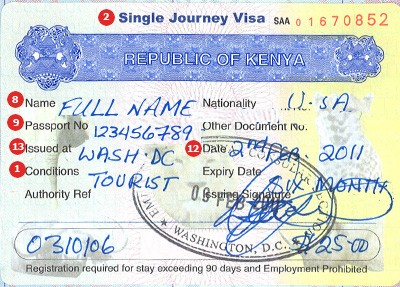 Kenya Visa Sample