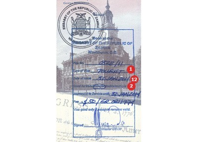 Zambia Visa Sample