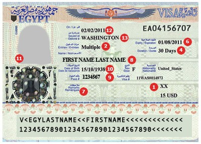Egypt Visa Sample